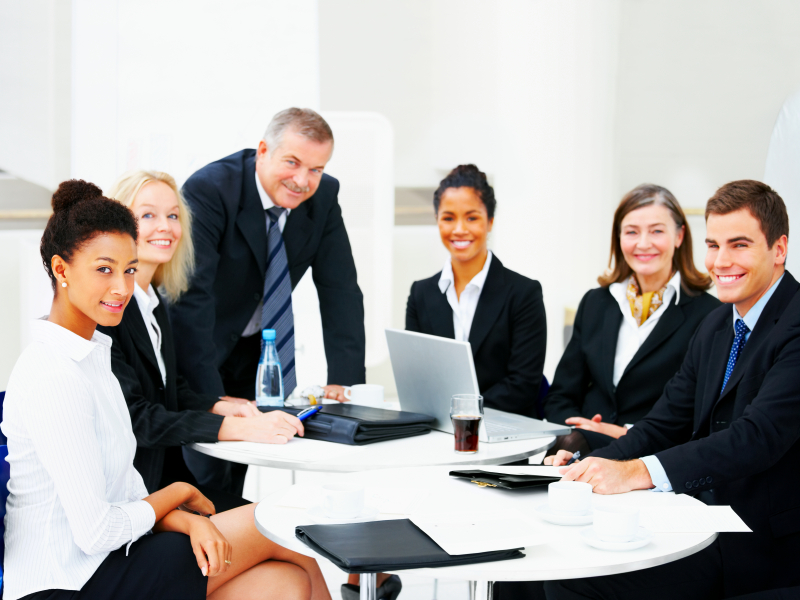 Business group portrait - Six business people working together. A diverse work group.
